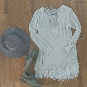 Sweater dress with lace detail